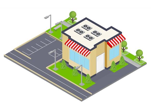 Conceito isométrico de construção comercial com janelas e ilustração de símbolos de estacionamento