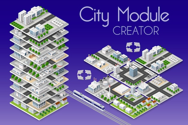 Conceito isométrico de criador de módulo de cidade