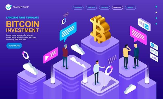 Conceito isométrico de criptomoeda bitcoin, banner de conceito de vetor isométrico, conceito isométrico de vetor de marketing e finanças, ilustração vetorial