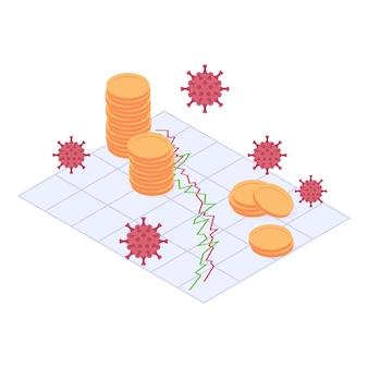 Conceito isométrico de crise econômica e financeira do coronavirus