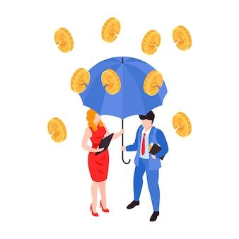 Conceito isométrico de crise financeira com moedas quebradas caindo sobre empresários sob o guarda-chuva 3d