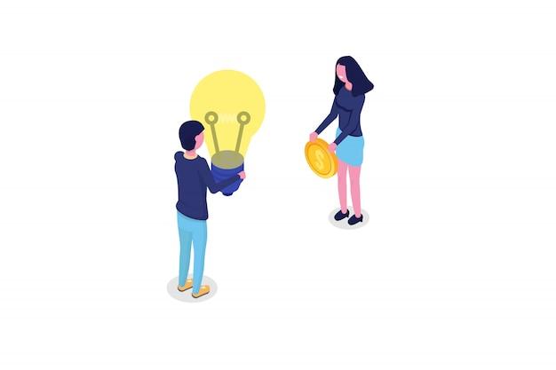 Conceito isométrico de crowdfunding com as pessoas. ilustração vetorial