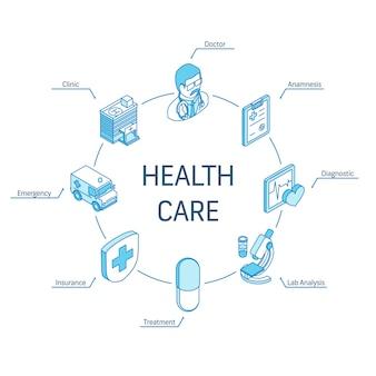 Conceito isométrico de cuidados de saúde. ícones 3d de linha conectada. sistema de design de infográfico de círculo integrado. médico, anamnese, diagnóstico, símbolos de análise de laboratório