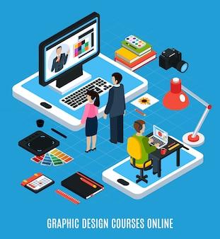 Conceito isométrico de cursos de design gráfico on-line com ilustração em vetor 3d alunos computador tablet amostras de livros
