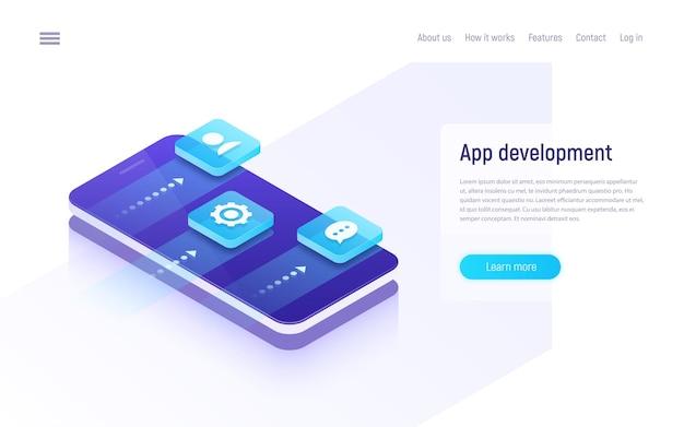 Conceito isométrico de desenvolvimento de aplicativo móvel.