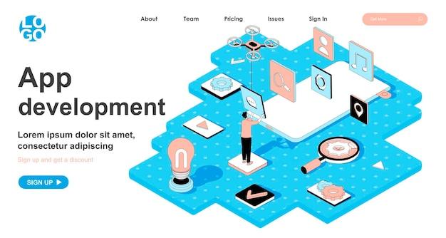Conceito isométrico de desenvolvimento de aplicativos em design 3d para página de destino