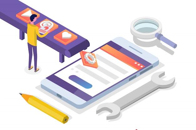 Conceito isométrico de desenvolvimento de aplicativos móveis. modelo de página de destino. ilustração.