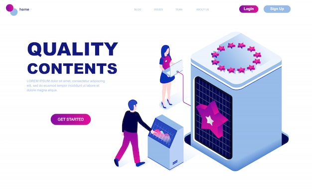 Conceito isométrico de design moderno plano de conteúdo de qualidade
