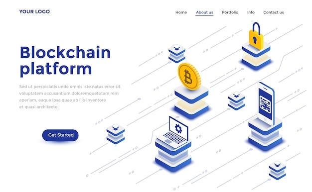 Conceito isométrico de design moderno plano de plataforma blockchain para site e site móvel. modelo de página de destino. fácil de editar e personalizar. ilustração vetorial