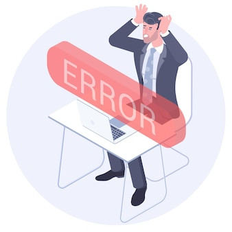 Conceito isométrico de design plano da mensagem de erro com o empresário irritado de andry tendo problemas com o computador perdeu dados importantes após um erro crítico.