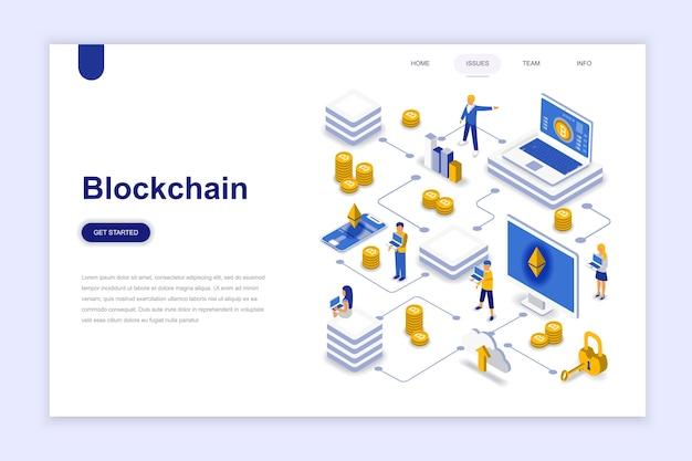 Conceito isométrico de design plano moderno blockchain.