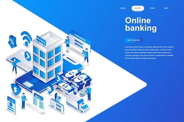 Conceito isométrico de design plano moderno de banca on-line.