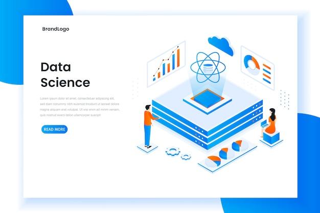 Conceito isométrico de design plano moderno de ciência de dados