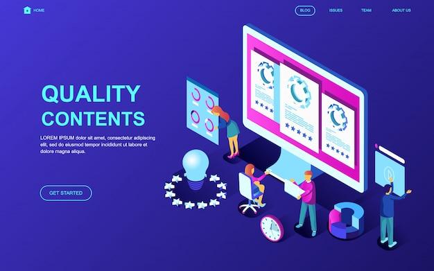 Conceito isométrico de design plano moderno de conteúdo de qualidade