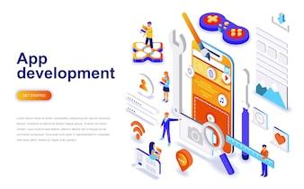 Conceito isométrico de design plano moderno de desenvolvimento App.