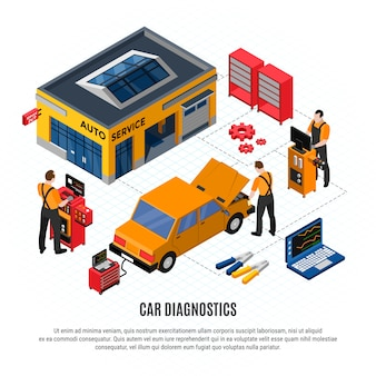 Conceito isométrico de diagnóstico de carro com reparação e peças de reposição e ferramentas de ilustração vetorial