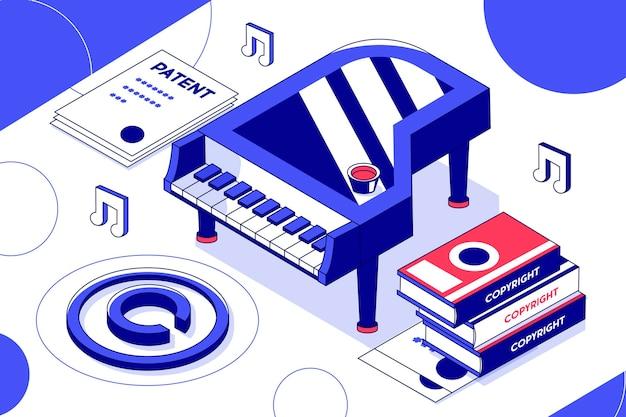 Conceito isométrico de direitos autorais com piano