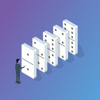 Conceito isométrico de dominó. ilustração em vetor em estilo simples.