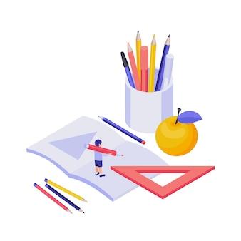 Conceito isométrico de educação com aluno 3d e papelaria