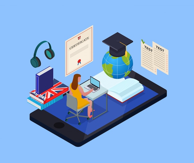 Conceito isométrico de educação on-line com aluna usando biblioteca eletrônica e vários objetos para estudar 3d