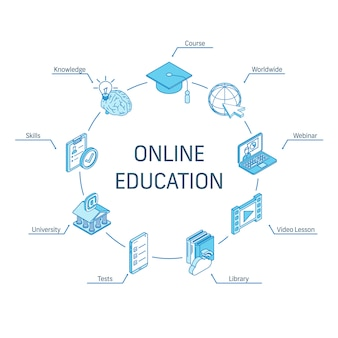 Conceito isométrico de educação on-line. ícones 3d de linha conectada. sistema de design de infográfico de círculo integrado. curso, webinar mundial, símbolo de habilidades