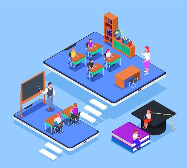 Conceito isométrico de educação online com dispositivos eletrônicos 3d e aulas com ilustração de crianças e professores
