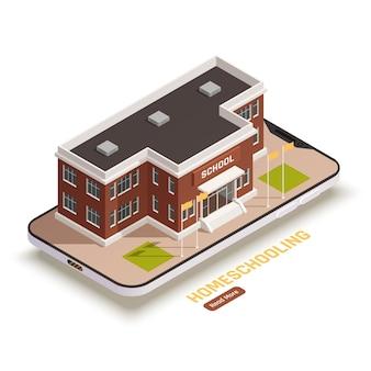 Conceito isométrico de educação online com prédio escolar e smartphone 3d