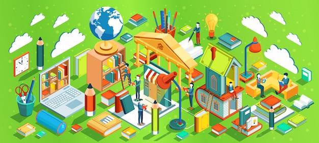 Conceito isométrico de educação sobre fundo verde. pessoas lendo livros. processo de aprendizado. ilustração