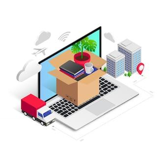 Conceito isométrico de empresa de transporte de serviço de realocação mudança para escritório em uma nova casa d