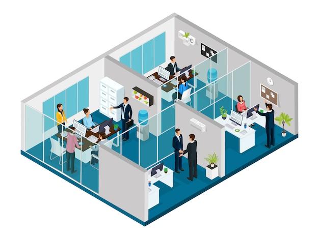 Conceito isométrico de escritório de advocacia com elementos internos, advogados de trabalhadores de escritório e clientes isolados