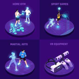 Conceito isométrico de esportes vr com jogos de artes marciais de ginástica em casa de equipamento de realidade virtual isolados
