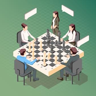 Conceito isométrico de estratégia de negócios com homens e mulheres jogando xadrez na ilustração 3d verde