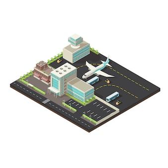 Conceito isométrico de exterior de aeroporto