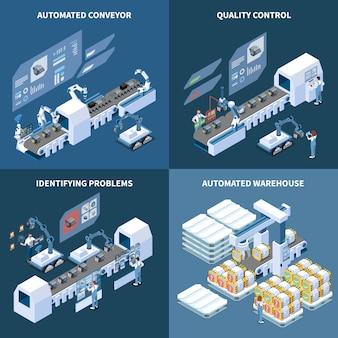 Conceito isométrico de fabricação inteligente com armazém automatizado de transportadora robotizada, identificando problemas de controle de qualidade isolado