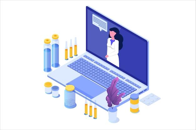 Conceito isométrico de farmácia online com frasco de comprimidos de medicamento.