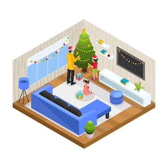 Conceito isométrico de férias de inverno em família com pai e filhos decoram a árvore de natal em casa isolada