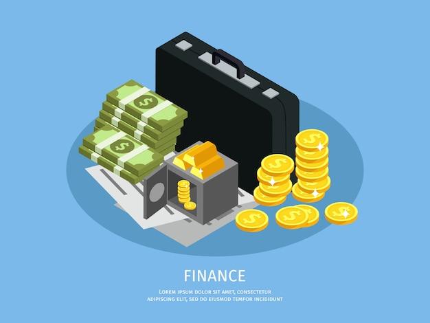 Conceito isométrico de finanças empresariais