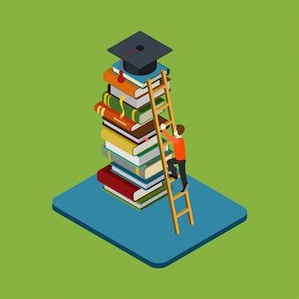Conceito isométrico de graduação de educação. a figura do homem sobe na escada sobre a pilha de livros para alcançar a ilustração do boné de pós-graduação.