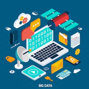 Conceito isométrico de grande volume de dados