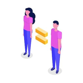 Conceito isométrico de igualdade de gênero com homem e mulher