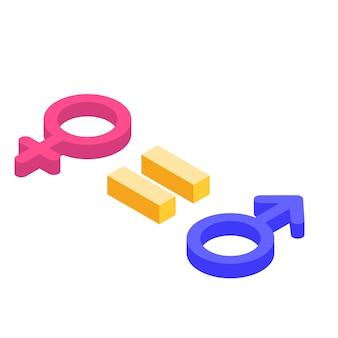 Conceito isométrico de igualdade de gênero com signo masculino e feminino