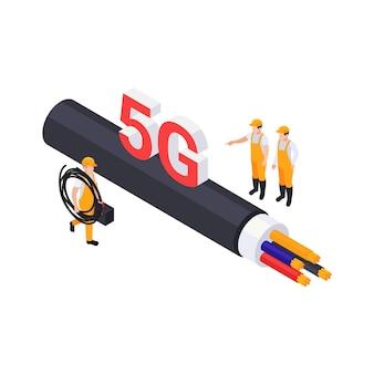 Conceito isométrico de internet 5g com trabalhadores uniformizados, colocando ilustração vetorial de cabo ethernet
