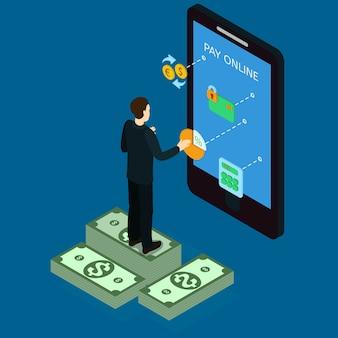 Conceito isométrico de internet banking
