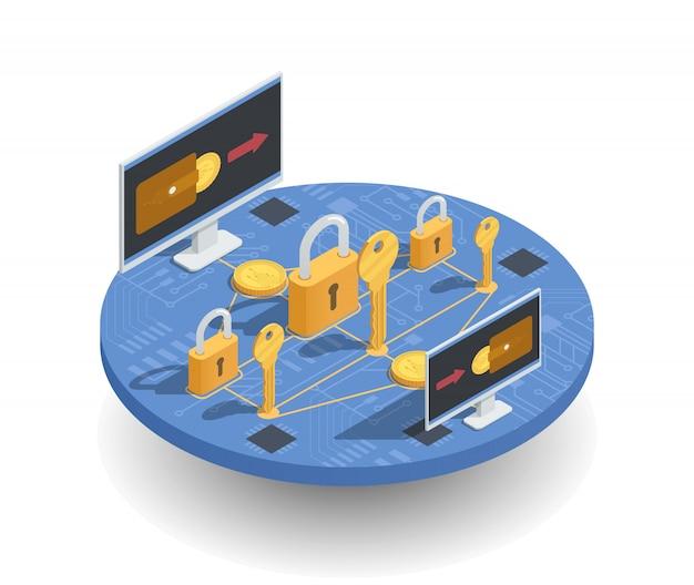 Conceito isométrico de investimentos e ganhos de criptomoeda