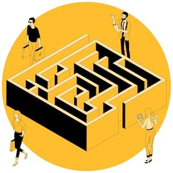 Conceito isométrico de labirinto de negócios.