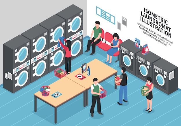 Conceito isométrico de lavanderia
