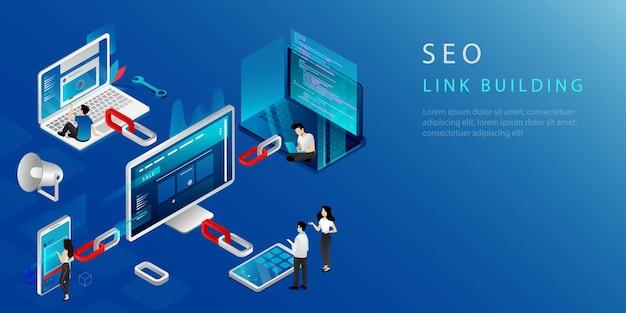 Conceito isométrico de link building, marketing de seo e estratégia de backlink. página inicial do site. marketing digital com pessoas. desenvolvimento de negócios na internet, estratégia de rede. ilustração vetorial.