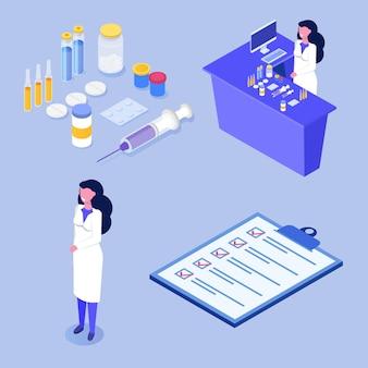 Conceito isométrico de loja de farmácia com ícone de medicamento.