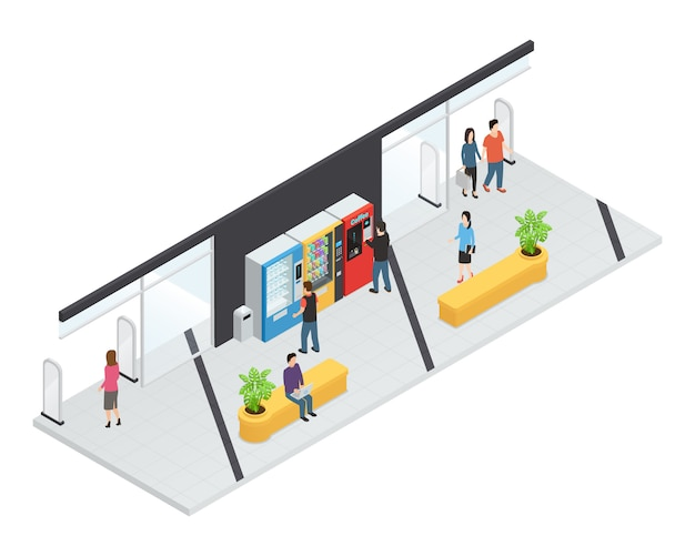 Conceito isométrico de máquinas de venda automática com máquinas de comida e bebida