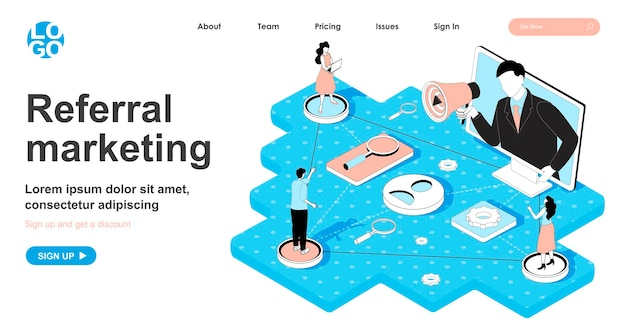 Conceito isométrico de marketing de referência em design 3d para página de destino